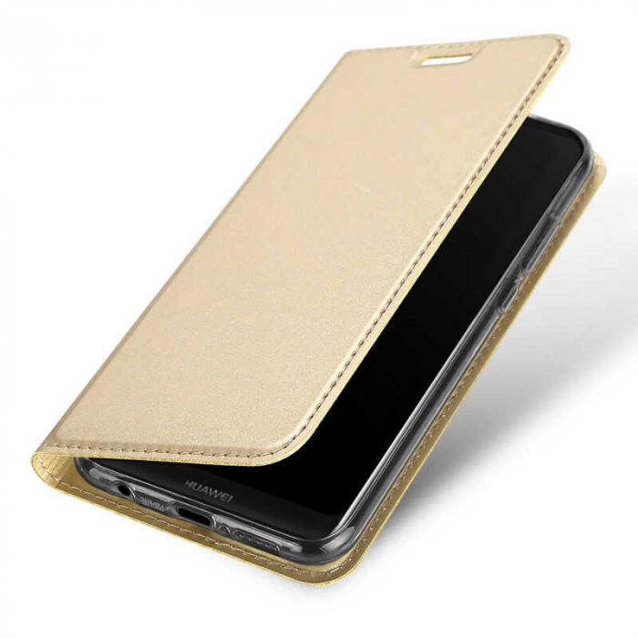 Husa Huawei P Smart 2019 Toc Flip Tip Carte Portofel Auriu Gold Piele Eco DuxDucis [3]