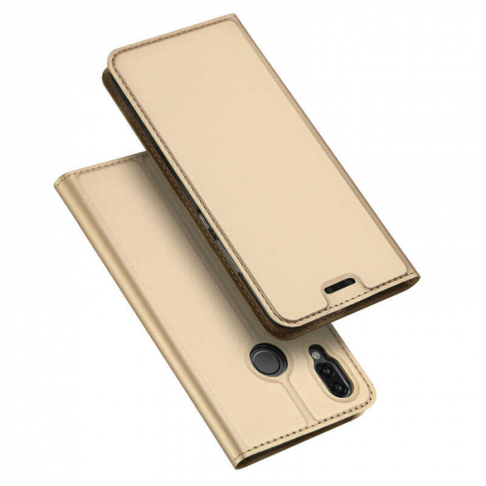 Husa Huawei P Smart 2019 Toc Flip Tip Carte Portofel Auriu Gold Piele Eco DuxDucis [4]