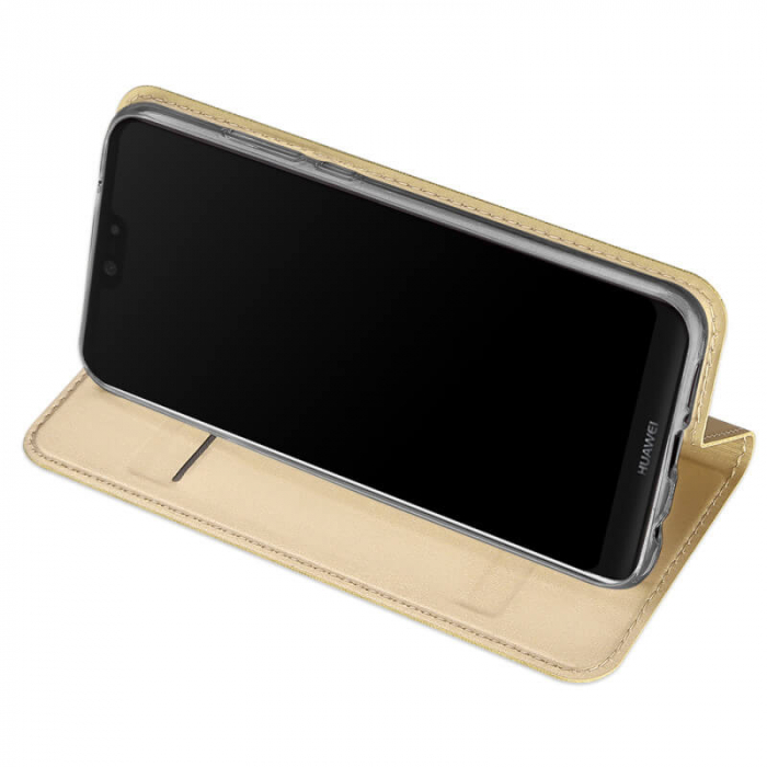 Husa Huawei P Smart Z 2019 Toc Flip Tip Carte Portofel Auriu Gold Piele Eco Premium DuxDucis 2