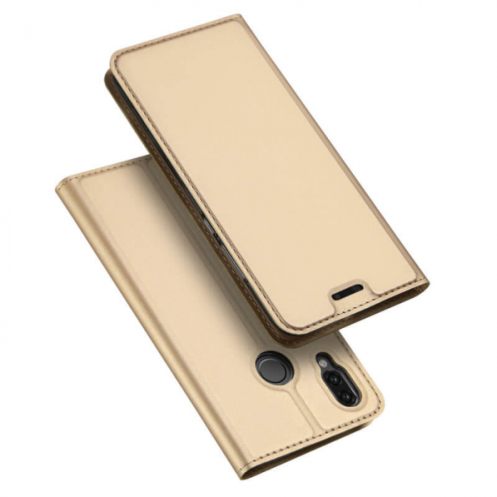 Husa Huawei P Smart Z 2019 Toc Flip Tip Carte Portofel Auriu Gold Piele Eco Premium DuxDucis 4