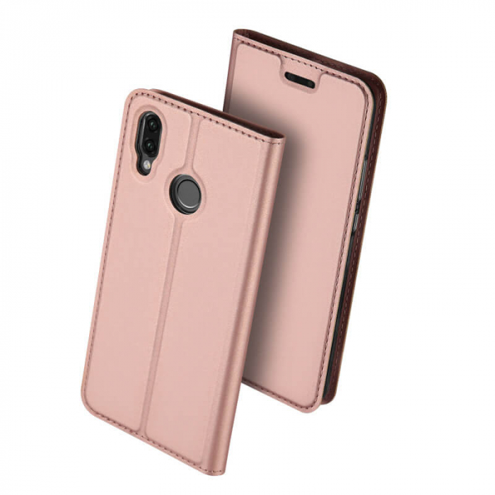 Husa Huawei P Smart Z 2019 Toc Flip Tip Carte Portofel Roz Piele Eco Premium DuxDucis 0
