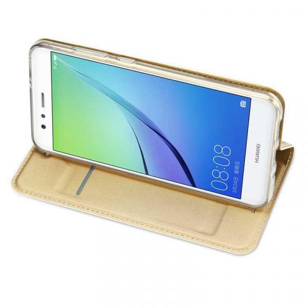 Husa Huawei P10 Lite 2017 Toc Flip Tip Carte Portofel Auriu Gold Piele Eco Premium DuxDucis 2