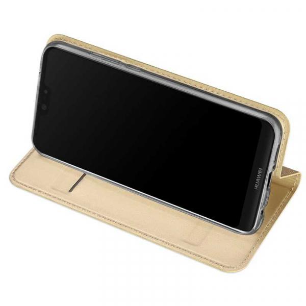 Husa Huawei P20 Lite 2018 Toc Flip Tip Carte Portofel Auriu Gold Piele Eco Premium DuxDucis 2