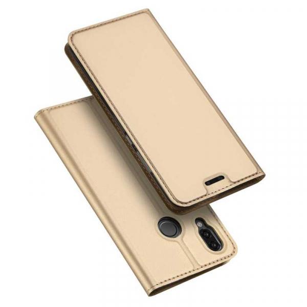 Husa Huawei P20 Lite 2018 Toc Flip Tip Carte Portofel Auriu Gold Piele Eco Premium DuxDucis 4