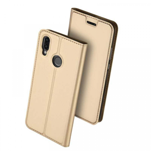 Husa Huawei P20 Lite 2018 Toc Flip Tip Carte Portofel Auriu Gold Piele Eco Premium DuxDucis 0