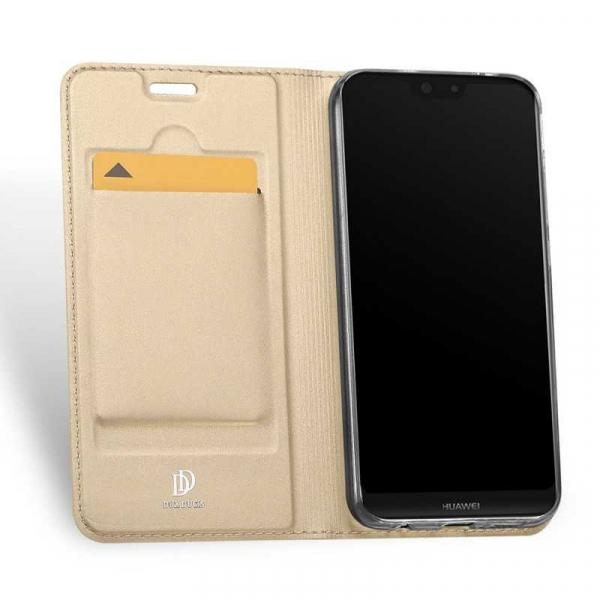 Husa Huawei P20 Lite 2018 Toc Flip Tip Carte Portofel Auriu Gold Piele Eco Premium DuxDucis 1