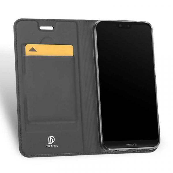 Husa Huawei P20 Lite 2018 Toc Flip Tip Carte Portofel Negru Piele Eco Premium DuxDucis 1