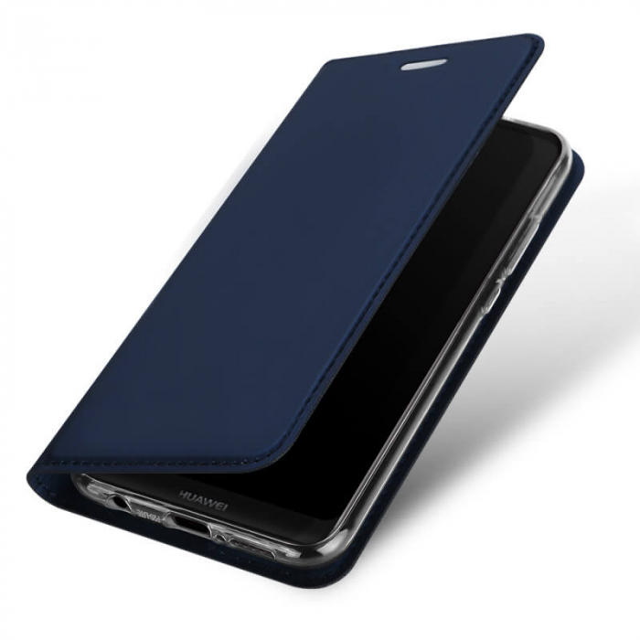 Husa Huawei P20 Lite 2019 Toc Flip Tip Carte Portofel Bleumarin Piele Eco Premium DuxDucis 3