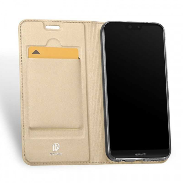 Husa Huawei P20 Pro 2018 Toc Flip Tip Carte Portofel Auriu Gold Piele Eco Premium DuxDucis 1