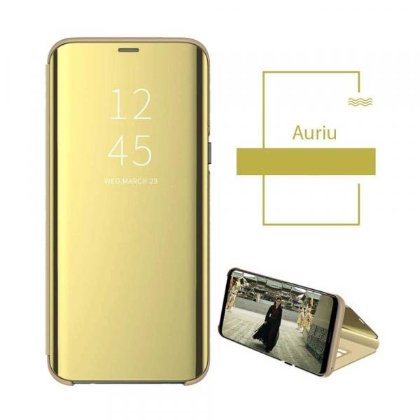 Husa Huawei P30 2019 Clear View Flip Toc Carte Standing Cover Oglinda Gold Auriu 1