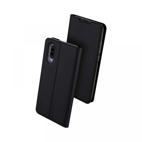 Husa Huawei P30 2019 Toc Flip Tip Carte Portofel Piele Eco Premium DuxDucis Negru [0]
