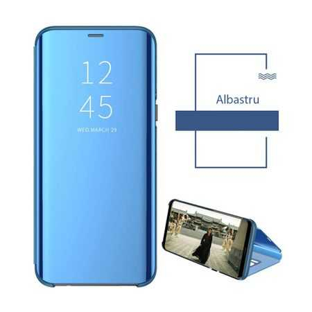Husa Huawei P30 Lite 2019 Clear View Flip Toc Carte Standing Cover Oglinda Albastru 2