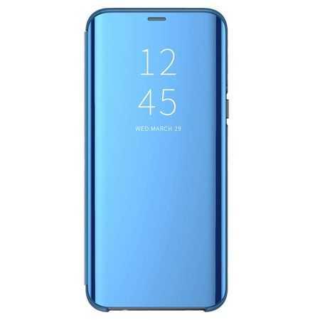 Husa Huawei P30 Lite 2019 Clear View Flip Toc Carte Standing Cover Oglinda Albastru 0