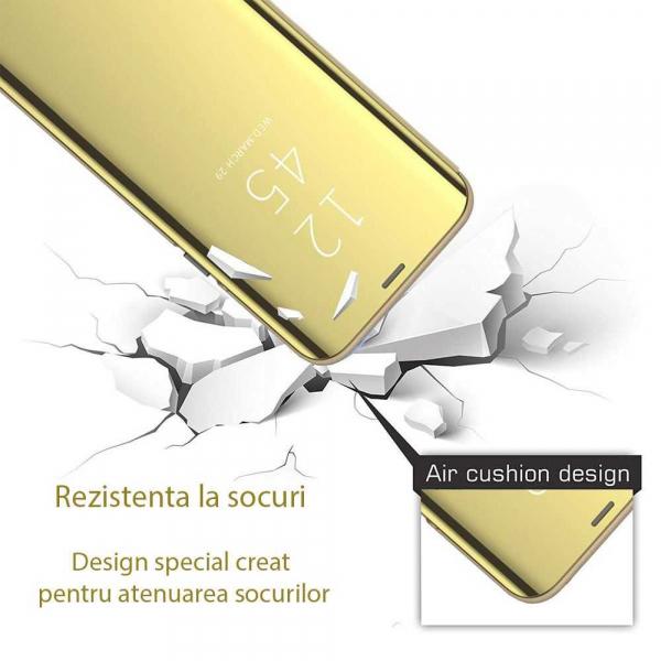 Husa Huawei P30 Lite 2019 Clear View Flip Toc Carte Standing Cover Oglinda Gold Auriu 2