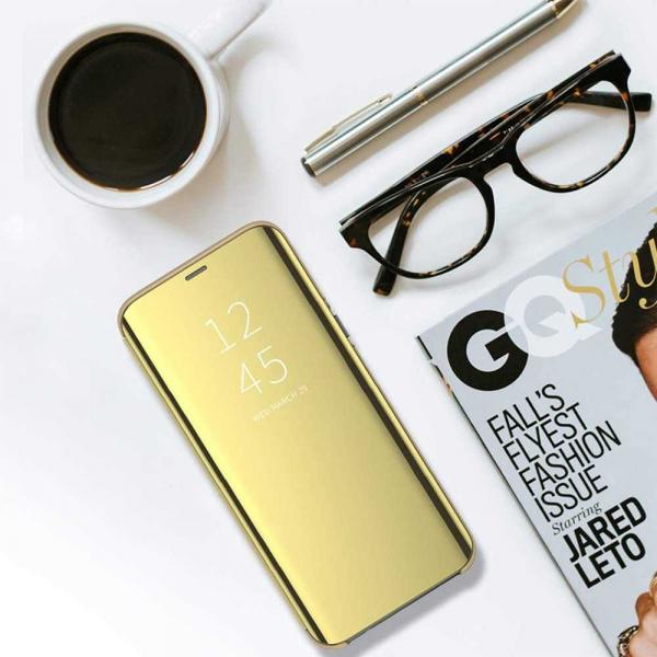 Husa Huawei P30 Lite 2019 Clear View Flip Toc Carte Standing Cover Oglinda Gold Auriu 4