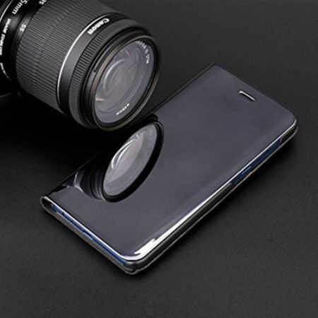 Husa Huawei P30 Lite 2019 Negru Book Flip Semitransparent Toc Carte Standing Cover Oglinda 2
