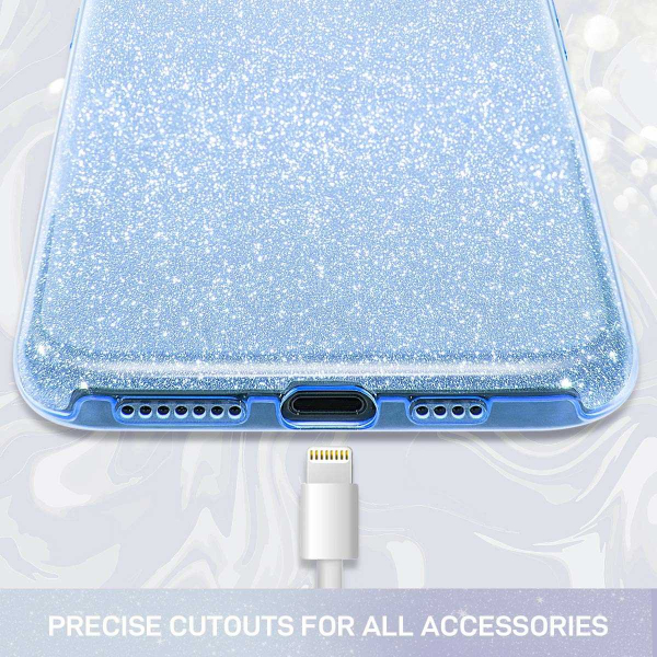 Husa Huawei P30 Lite 2019 Sclipici Carcasa Spate Albastru Silicon TPU 1