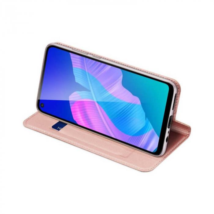 Husa Huawei P40 Lite 2020 Toc Flip Tip Carte Portofel Roz Piele Eco DuxDucis 2