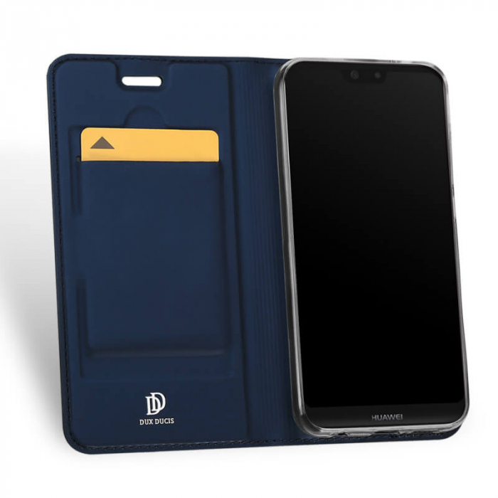 Husa Huawei P40 Lite E 2020 Toc Flip Tip Carte Portofel Bleumarin Piele Eco Premium DuxDucis 1