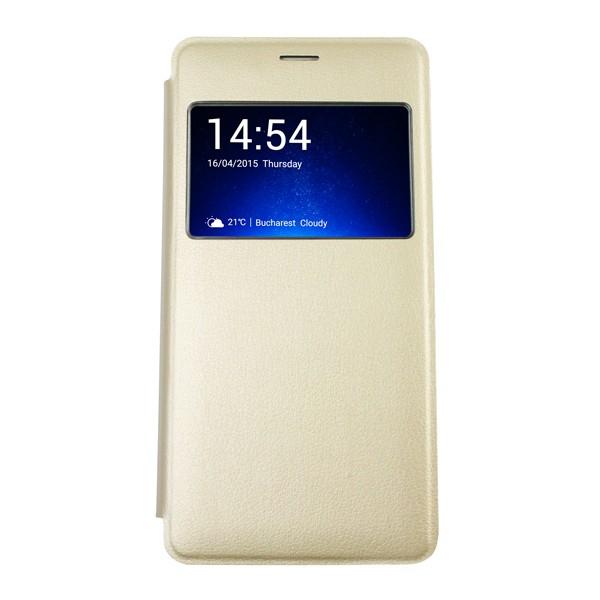 Husa Huawei P8 Lite Aurie Portofel cu Fereastra Carte Flip Book cu Inchidere Magnetica 0
