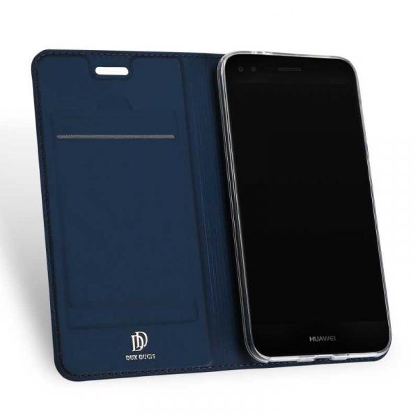 Husa Huawei P9 Lite Mini Toc Flip Tip Carte Portofel Bleumarin Piele Eco Premium DuxDucis 1