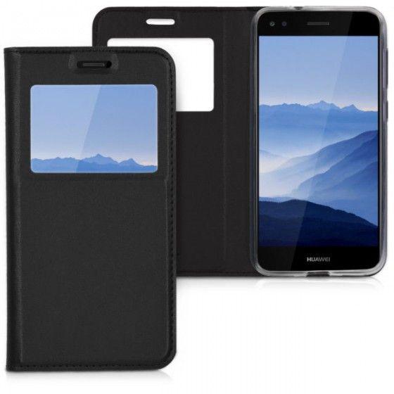 Husa Huawei P8 Lite Neagra Portofel cu Fereastra Carte Flip Book cu Inchidere Magnetica 1