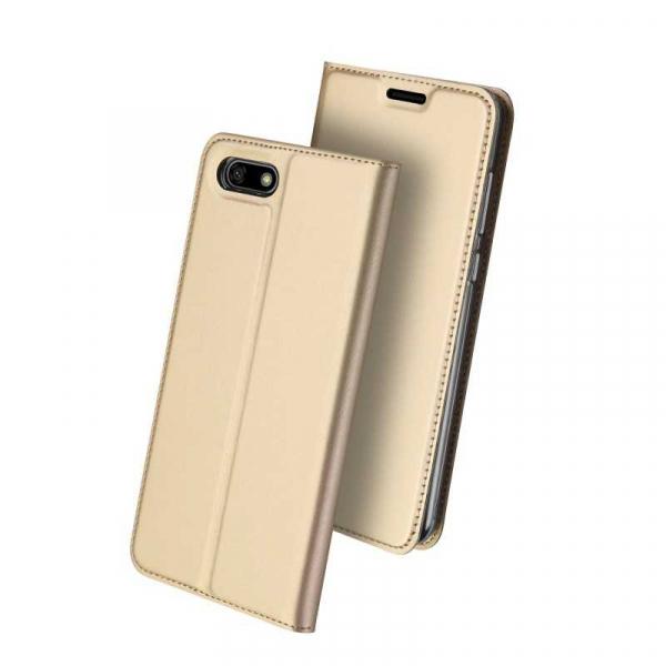 Husa Huawei Y5 2018 Toc Flip Tip Carte Portofel Auriu Gold Piele Eco Premium DuxDucis [0]