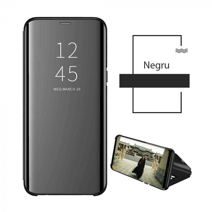 Husa Huawei Y5P 2020 Clear View Flip Standing Cover (Oglinda) Negru [2]