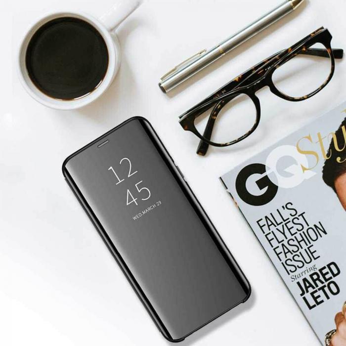 Husa Huawei Y5P 2020 Clear View Flip Standing Cover (Oglinda) Negru [3]