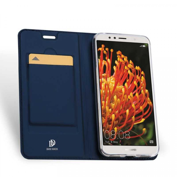 Husa Huawei Y6 2018 Bleumarin Piele Eco Toc Tip Carte Portofel Premium DuxDucis 1