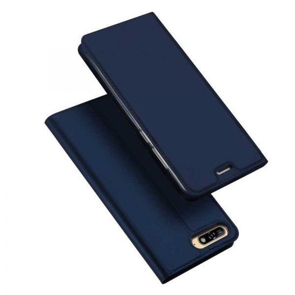 Husa Huawei Y6 2018 Bleumarin Piele Eco Toc Tip Carte Portofel Premium DuxDucis 4