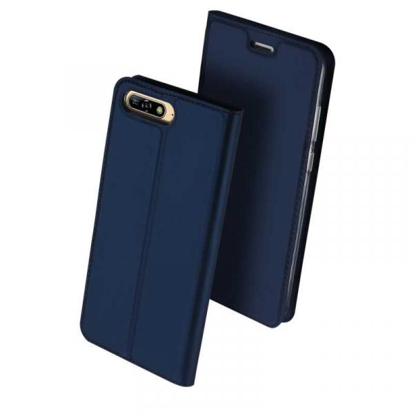 Husa Huawei Y6 2018 Bleumarin Piele Eco Toc Tip Carte Portofel Premium DuxDucis 0