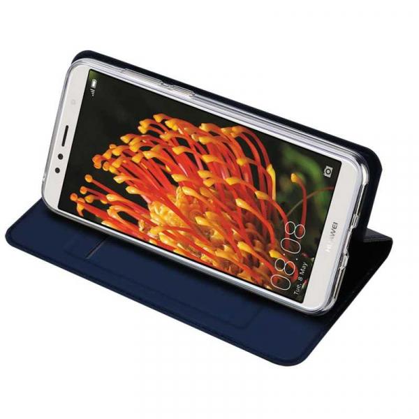 Husa Huawei Y6 2018 Bleumarin Piele Eco Toc Tip Carte Portofel Premium DuxDucis 2