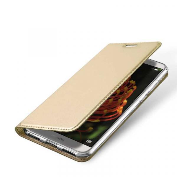 Husa Huawei Y6 2018 Gold Auriu Piele Eco Toc Tip Carte Portofel Premium DuxDucis [3]