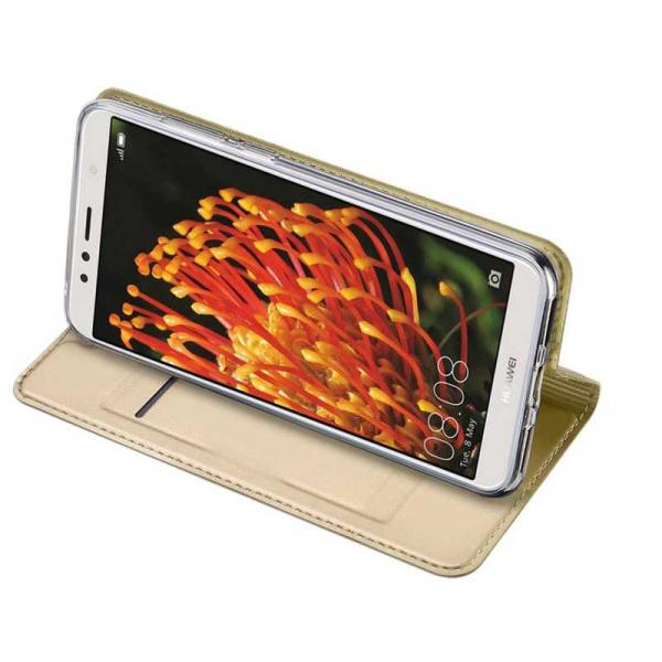 Husa Huawei Y6 2018 Gold Auriu Piele Eco Toc Tip Carte Portofel Premium DuxDucis [2]