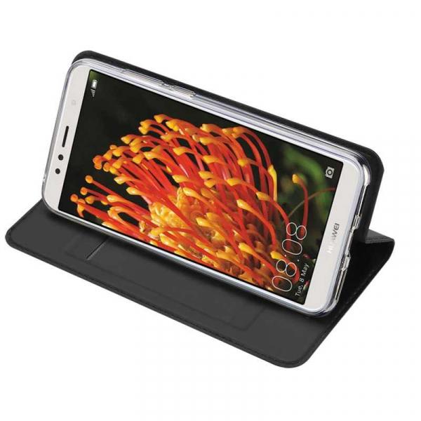 Husa Huawei Y6 2018 Negru Piele Eco Toc Tip Carte Portofel Premium DuxDucis 2