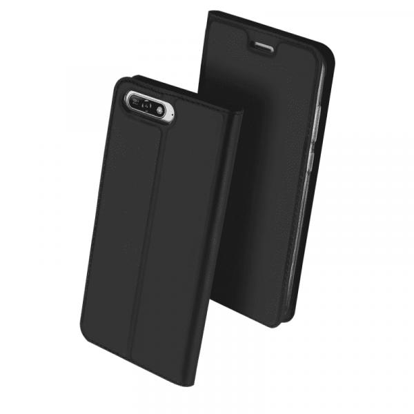 Husa Huawei Y6 2018 Negru Piele Eco Toc Tip Carte Portofel Premium DuxDucis 0