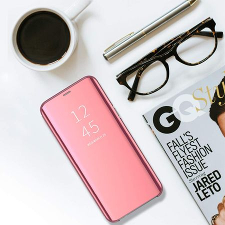 Husa Huawei Y6 2019 Clear View Flip Standing Cover (Oglinda) Roz (Rose Gold) 4