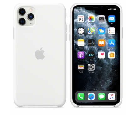 "Husa iPhone 11 2019 - 6.1 "" Alb Carcasa Silicon Premium Slim Logo 1"