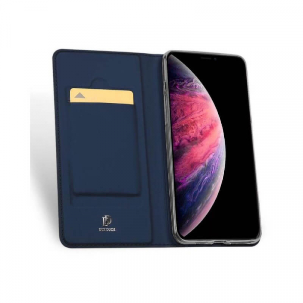 Husa iPhone 11 2019 Toc Flip Tip Carte Portofel Bleumarin Piele Eco Premium DuxDucis 1
