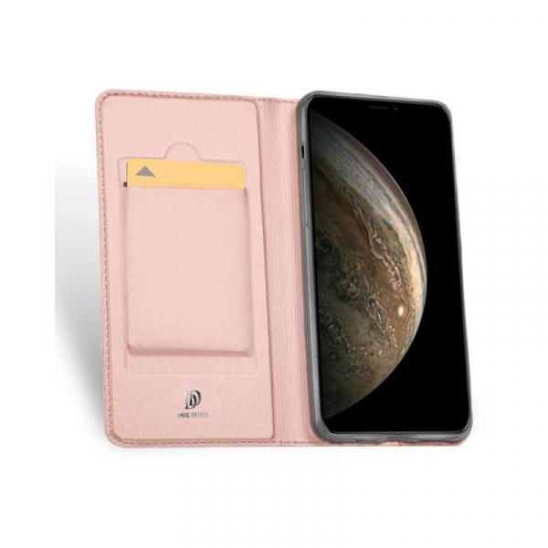 Husa iPhone 11 2019 Toc Flip Tip Carte Portofel Roz Piele Eco Premium DuxDucis 1