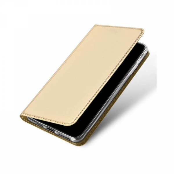 Husa iPhone 11 Pro 2019 Toc Flip Tip Carte Portofel Auriu Gold Piele Eco Premium DuxDucis 3