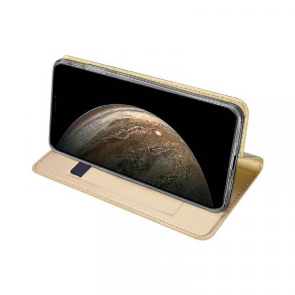 Husa iPhone 11 Pro 2019 Toc Flip Tip Carte Portofel Auriu Gold Piele Eco Premium DuxDucis 2