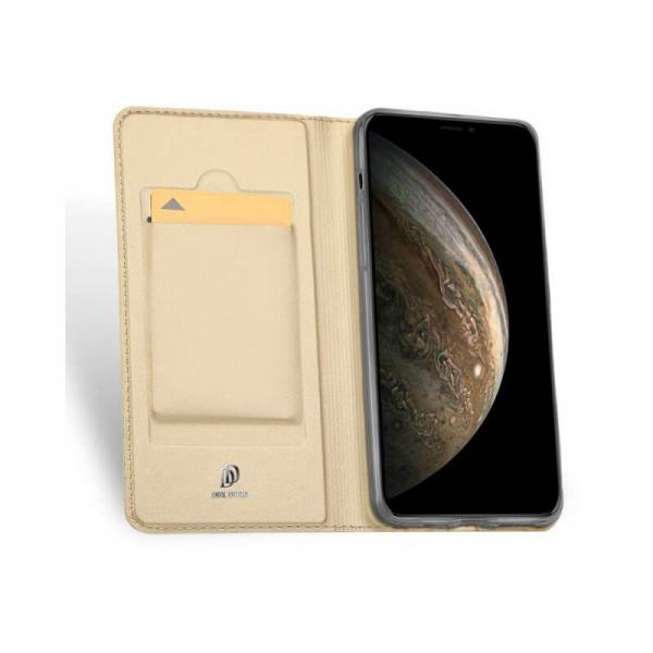 Husa iPhone 11 Pro 2019 Toc Flip Tip Carte Portofel Auriu Gold Piele Eco Premium DuxDucis 1