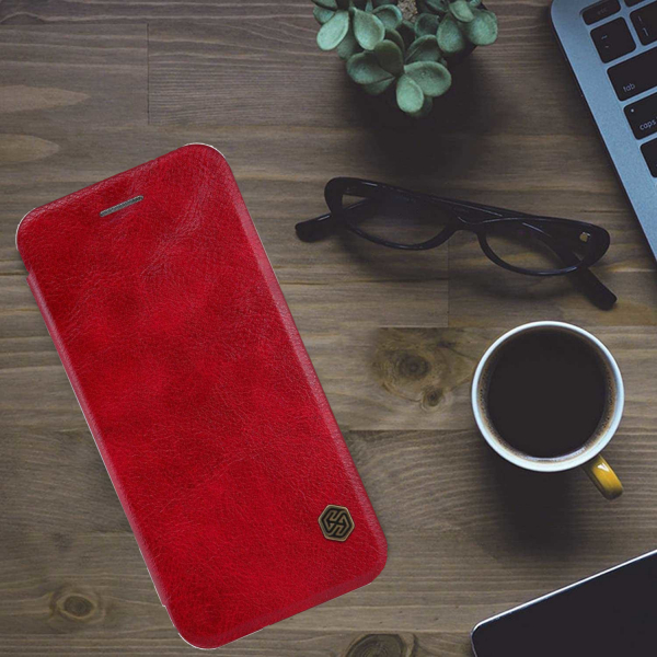 Husa iPhone 11 Pro Max 2019 Rosu Toc Flip Nillkin Qin Piele Eco Premium  Tip Carte Portofel 6