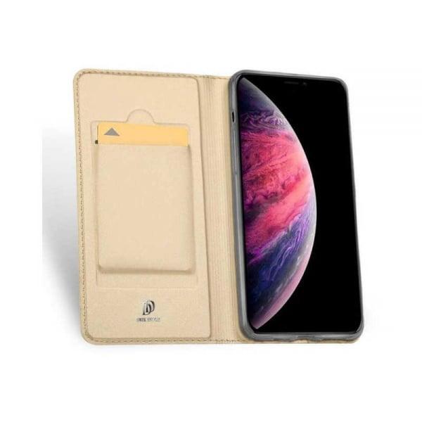 Husa iPhone 11 Pro Max 2019 Toc Flip Tip Carte Portofel Auriu Gold Piele Eco Premium DuxDucis 1