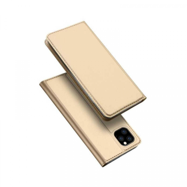 Husa iPhone 11 Pro Max 2019 Toc Flip Tip Carte Portofel Auriu Gold Piele Eco Premium DuxDucis 4