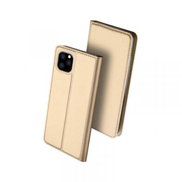 Husa iPhone 11 Pro Max 2019 Toc Flip Tip Carte Portofel Auriu Gold Piele Eco Premium DuxDucis 0