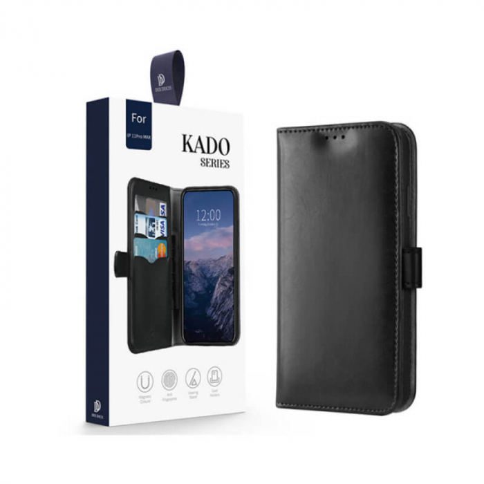 Husa iPhone 11 Pro Max 2019 Toc Flip Tip Carte Portofel Negru Piele Eco Premium DuxDucis Kado 6
