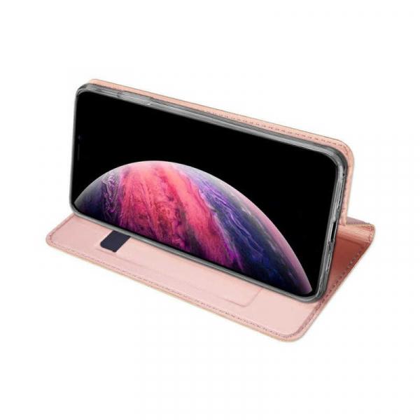 Husa iPhone 11 Pro Max 2019 Toc Flip Tip Carte Portofel Roz Piele Eco Premium DuxDucis 2